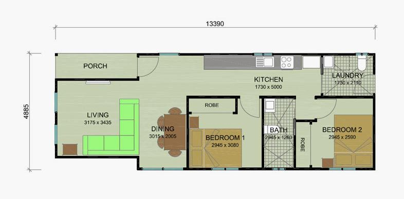 2 bedroom granny flat floor plans banksia 63m2 option 1 for 2 bedroom granny flat designs