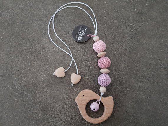 Crocheted Stroller Necklace Crochet Maxi Cosi Pendant Wood