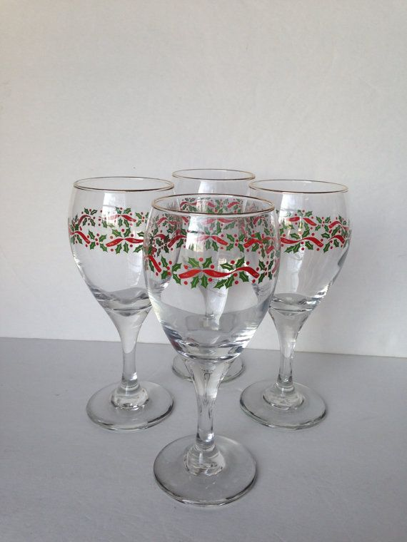 christmas wine glasses christmas water glasses libbey christmas drinking glasses christmas table decor holiday glassware set of 4 yule stemware - Christmas Drinking Glasses