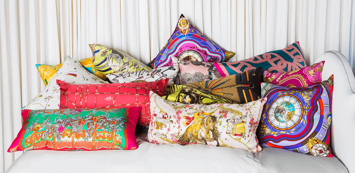 Beau Modern Luxury Home Decor And Accents: Vintage Hermes Silk Scarf Pillows