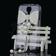 Clear Bling Jewelry Silver Metal Bow Hard Case Cover For Samsung Galaxy S4 i9500