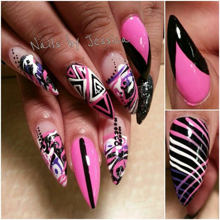 Pink Stiletto Nail Designs to Adore | Oval nails, Art nails and ...