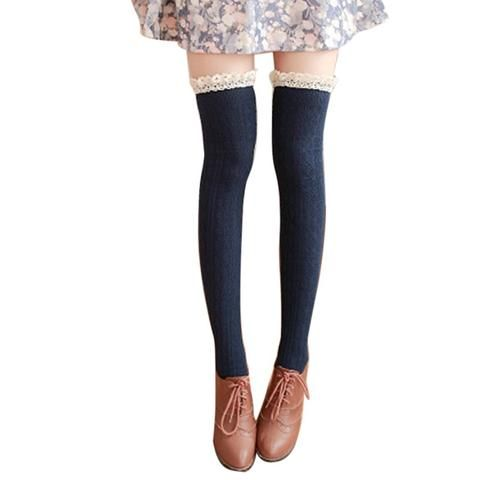 1407026087e LASPERAL High Over The Knee Long Cotton Stockings Medias Sexy 2018 New Women  Winter Lace Mosaic Heap Warm Stockings