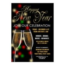 New Year's Eve Dinner Party Personalized Invite