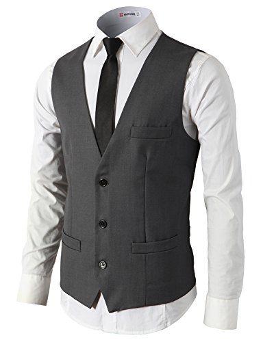 H2H Mens Formal Slim Fit Premium Business Dress Suit Lightweight Vests CHARCOAL US L/Asia XL (CMOV032)