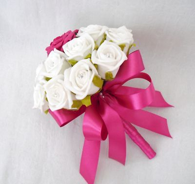 Hot Pink Wedding Bouquets Flowers Posy Bouquet White Roses Ribbon