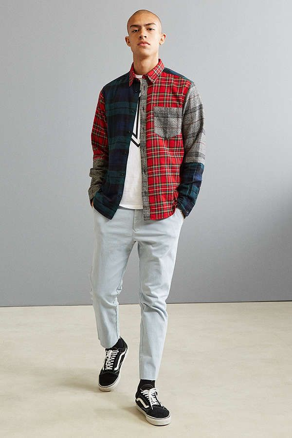 uo patchwork plaid flannel shirt