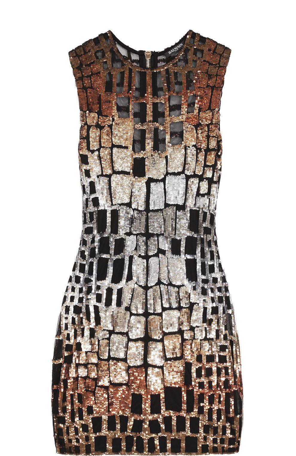 6e555135f1a Женское бронзовое платье-футляр с контрастной отделкой пайетками Balmain