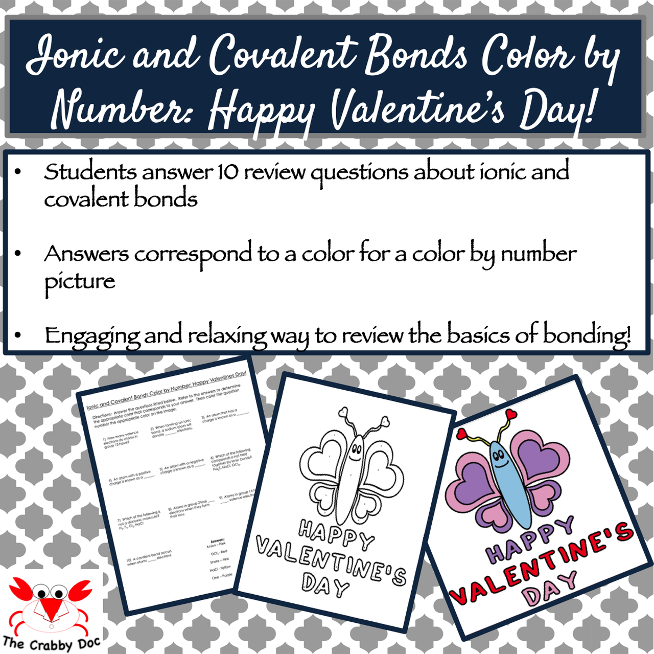 Ionic And Covalent Bonds Color By Number Happy Valentine