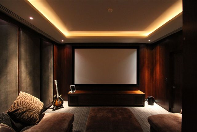 Home Cinema Fixed Screen Recessed Lighting Velvet Padded Walls Home Cinema Room Home Theater Rooms Theatre Interior