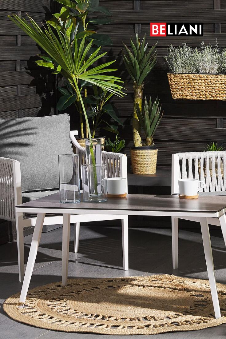 Modernes Designer Gartenset Fur 2 Personen Mit Bespannung Im Seil Look Gartenmobel Gartentisch Set Aluminium