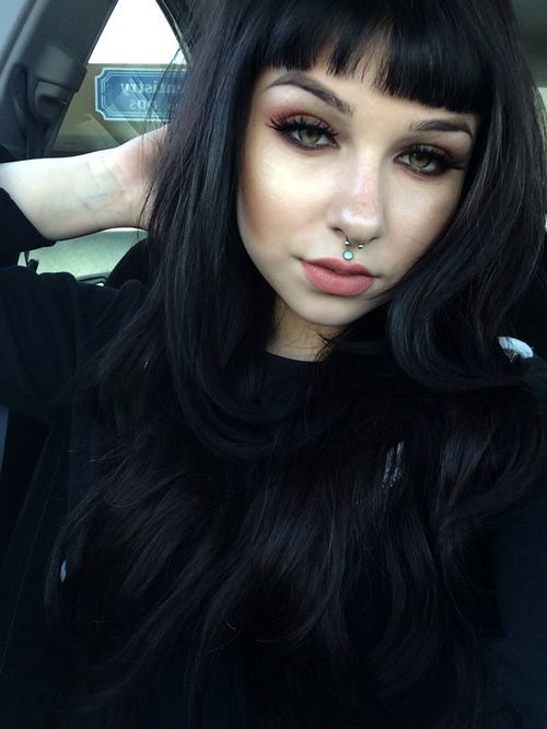 Long Hair With Choppy Ends And Blunt Bangs Long Hair Styles Hair Styles Hairstyles With Bangs