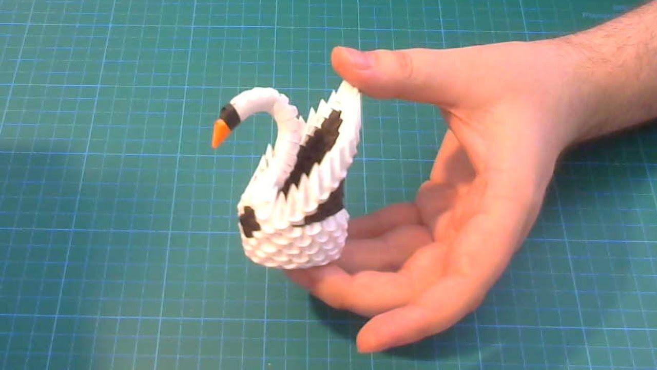 3D Origami small swan tutorial DIY paper small swan