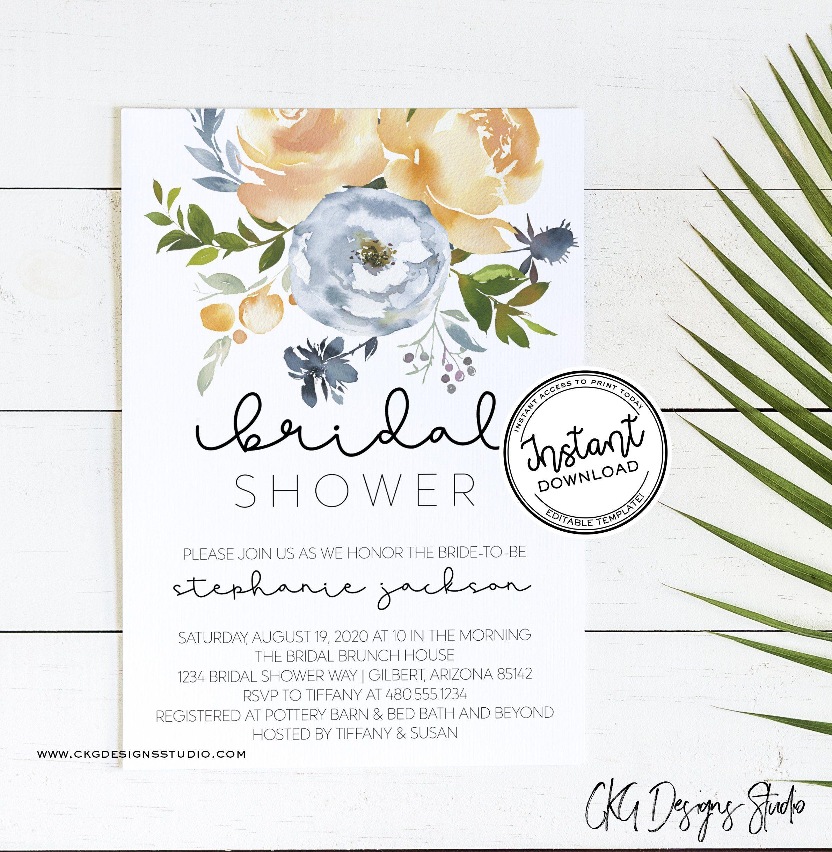 Bridal Shower Invitation Template Bridal Shower Blue