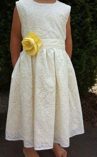 GIRLS SPRING/SUMMER YELLOW & WHITE, LINED EYELET DRESS SZ. 3,4,5,6,7,8 -*hgt*