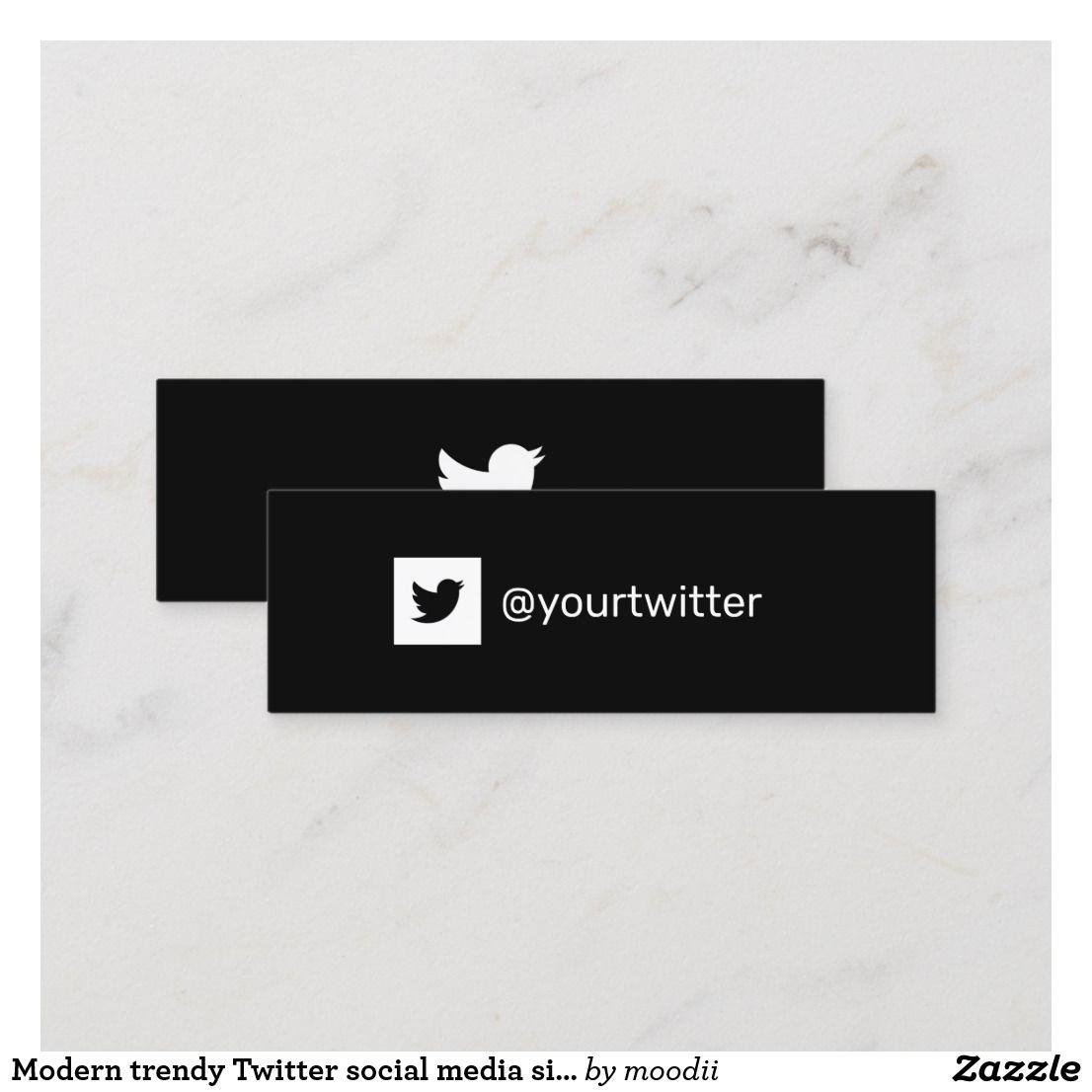 Modern Trendy Twitter Social Media Simple Logo Calling Card Zazzle Com Simple Logo Social Media Business Cards Social Media