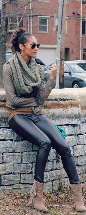 eternity scarf, swede shobooties + leather skinnys - Fall fashion 2013