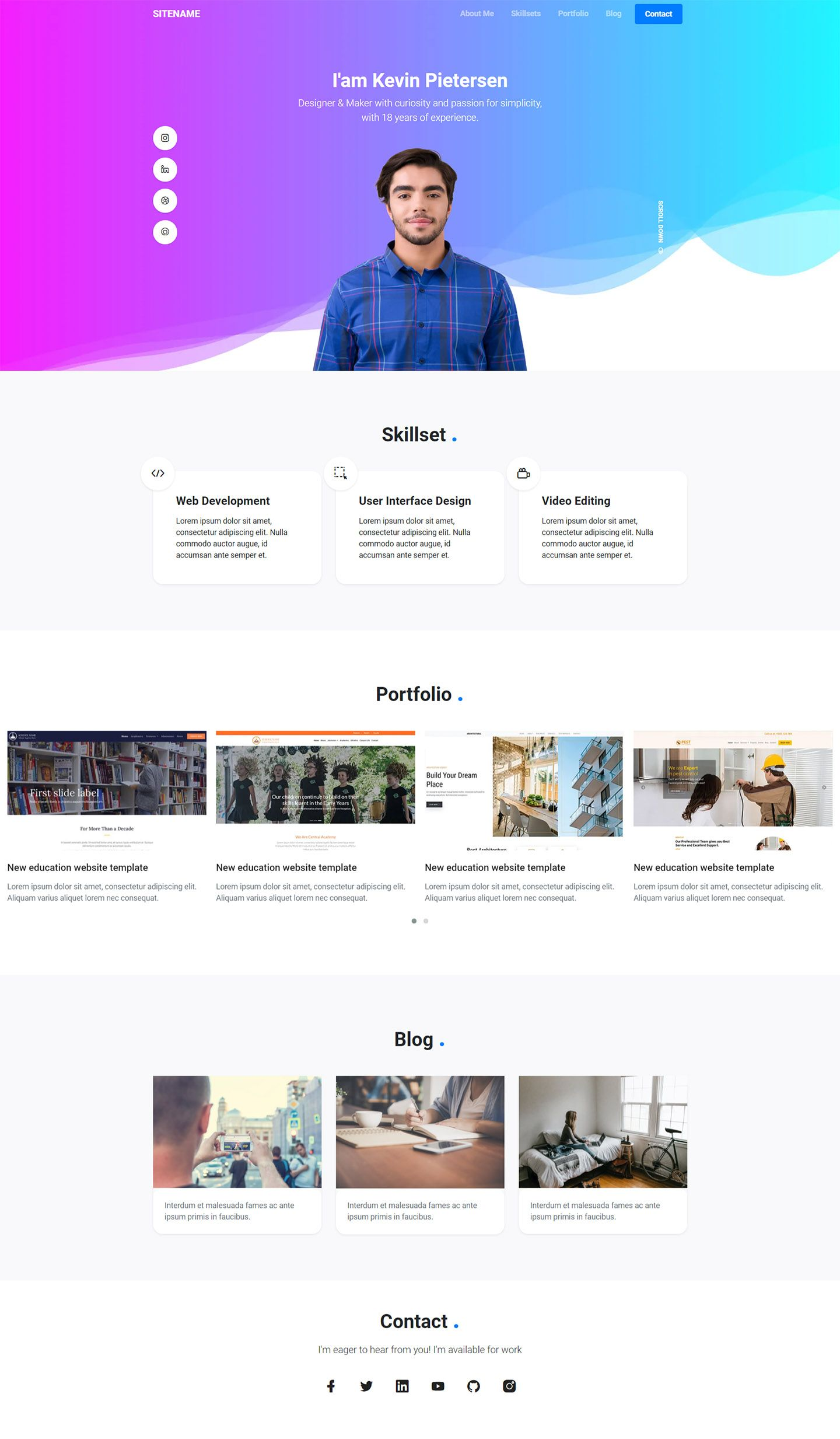 30 Free Personal Website Templates To Boost Your Personal Branding 2021 In 2021 Personal Website Templates Free Portfolio Template Personal Website Design