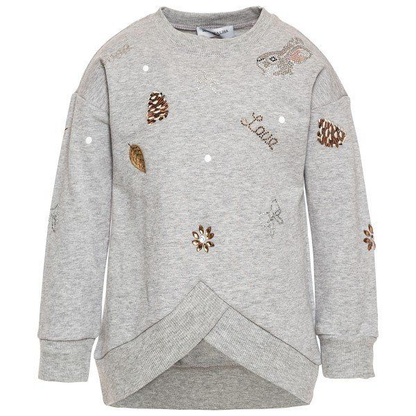 Sweatshirt with a round hem and rhinestones