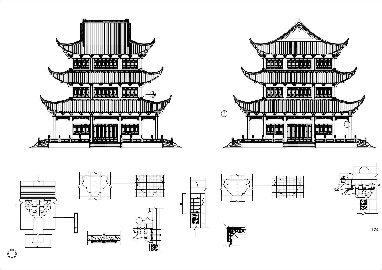 Chinese Architecture Cad Drawings Arch Asian Pinterest Chinese