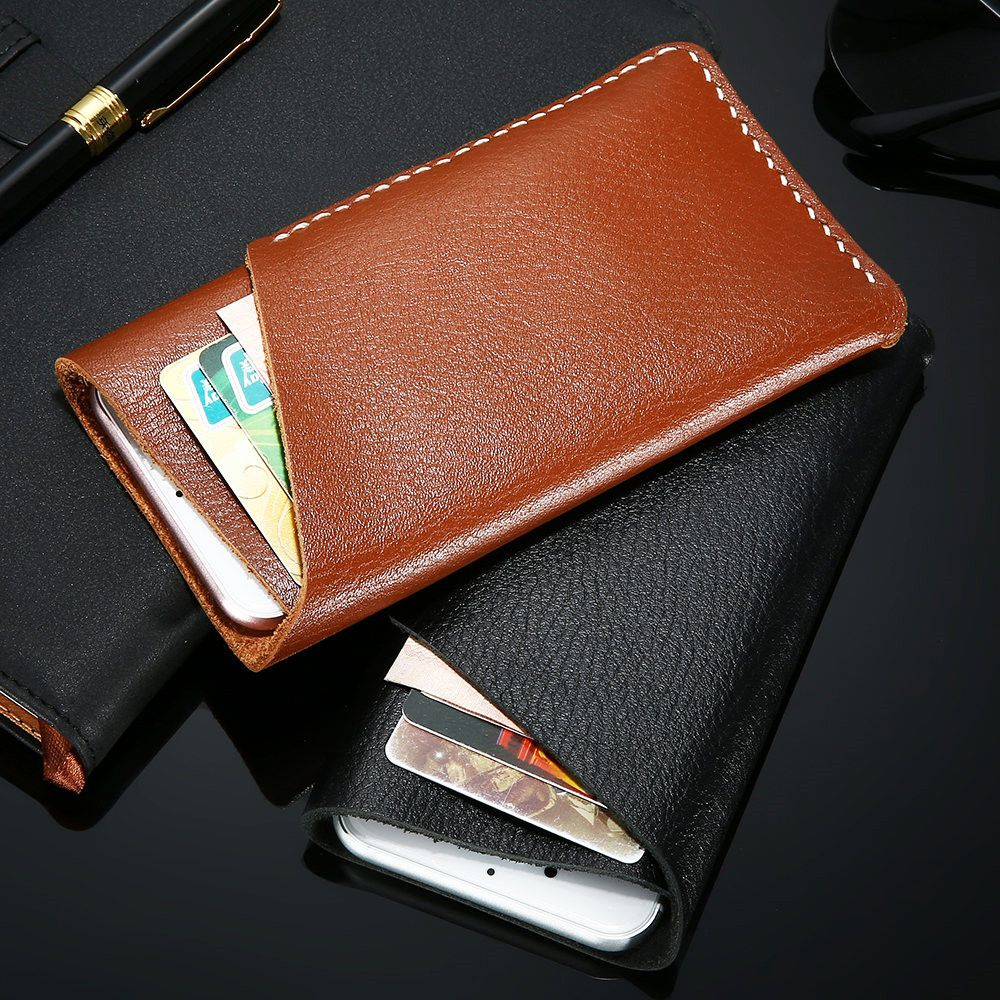 5.5 inch Universal Genuine Leather Phone Case For iPhone 6 6s 7 Plus For Samsung S7 S6 S5 Card Slot Wallet Bag Phone Accessories