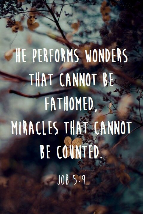 He performs wonders that cannot be fathomed, miracles that cannot be counted. Job 5:9