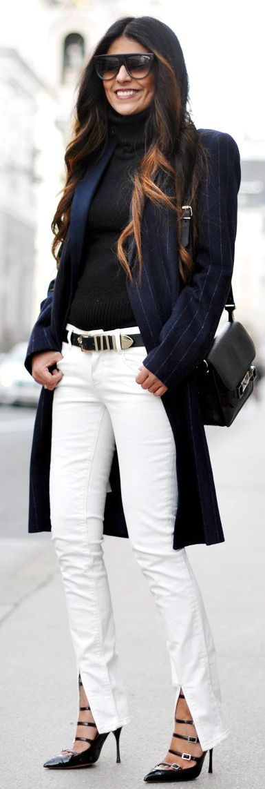 Pimkie White Front Slit Skinnies. Love the shoes!