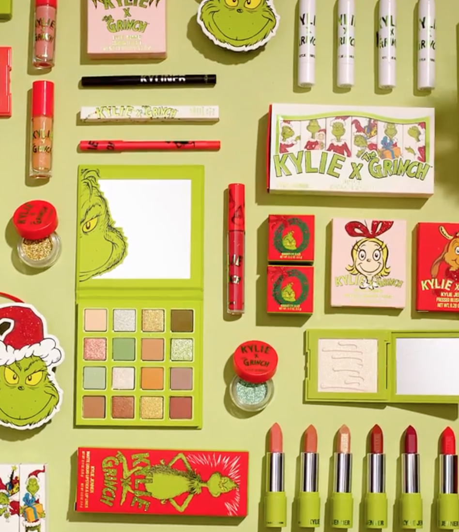 Kylie Jenner Unveils Kylie Cosmetics X The Grinch Holiday Collection Mmirandalaurenn Kylie Cosmetics Holiday Collection Kylie Makeup Kylie Jenner Makeup
