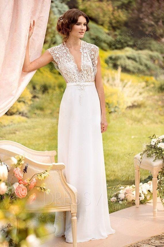 Adorewe Dresswe Womens Designer Charming V Neck Lace A Line Bohemian Wedding Dresseschiffon