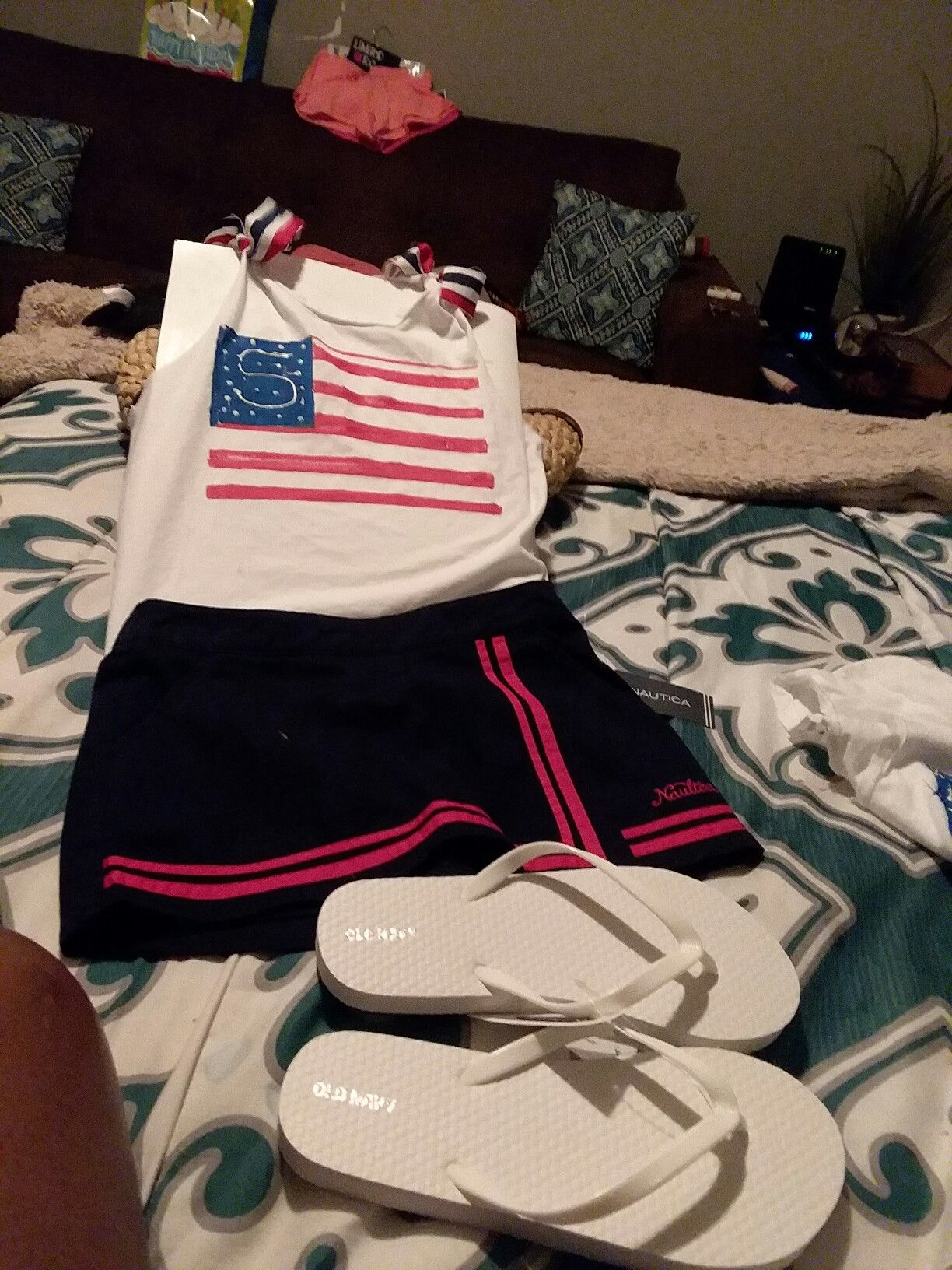 Happy 4th Of July I My Grandaughter S Outfit With Just 3 Small Tubes Of Paint From Walmart And Dollar Day Fli 4th Of July Outfits Happy 4 Of July 4th Of July