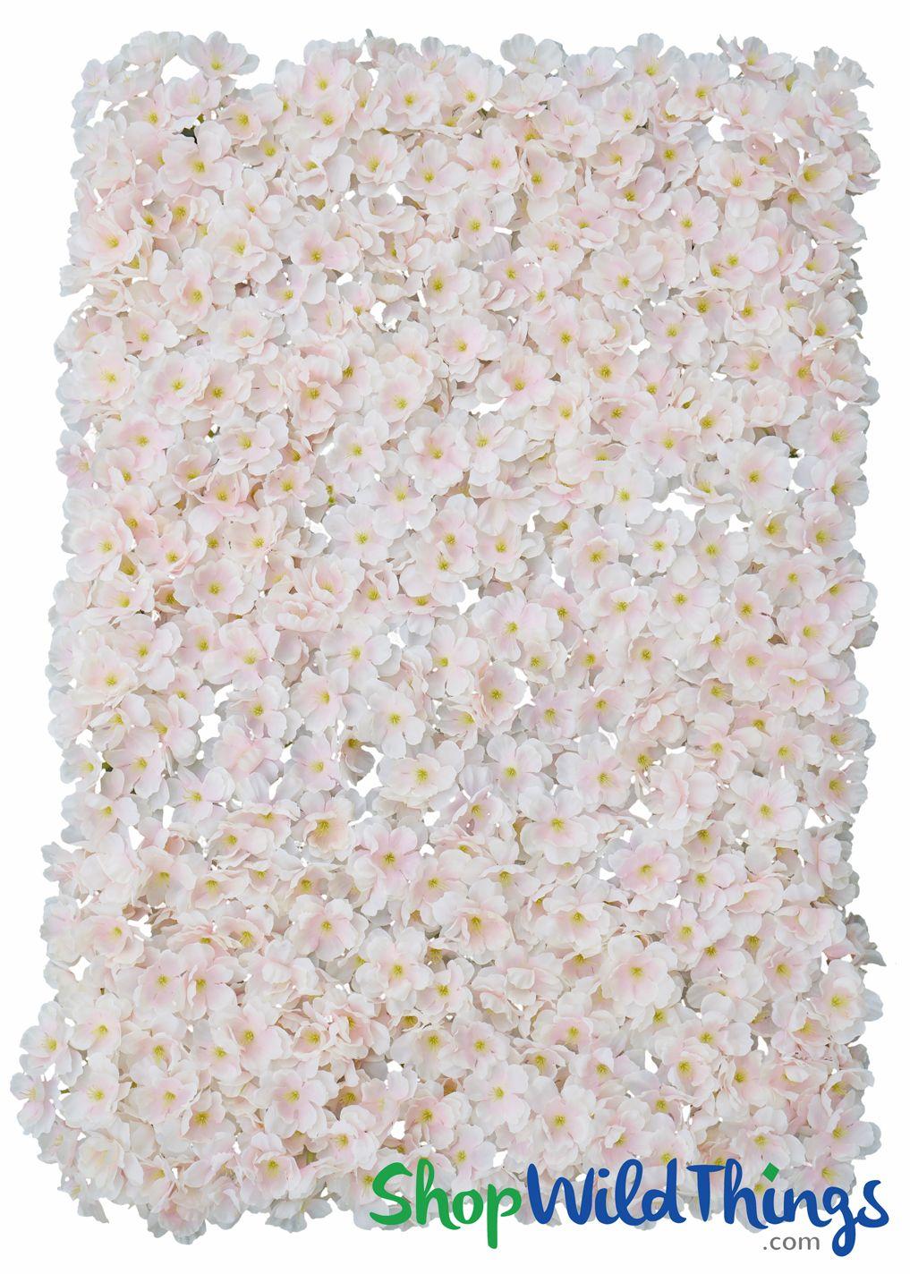 Flower Wall 17 X 25 Silk Cherry Blossoms Blush Pink Flower Wall Ivory Flowers Artificial Silk Flowers