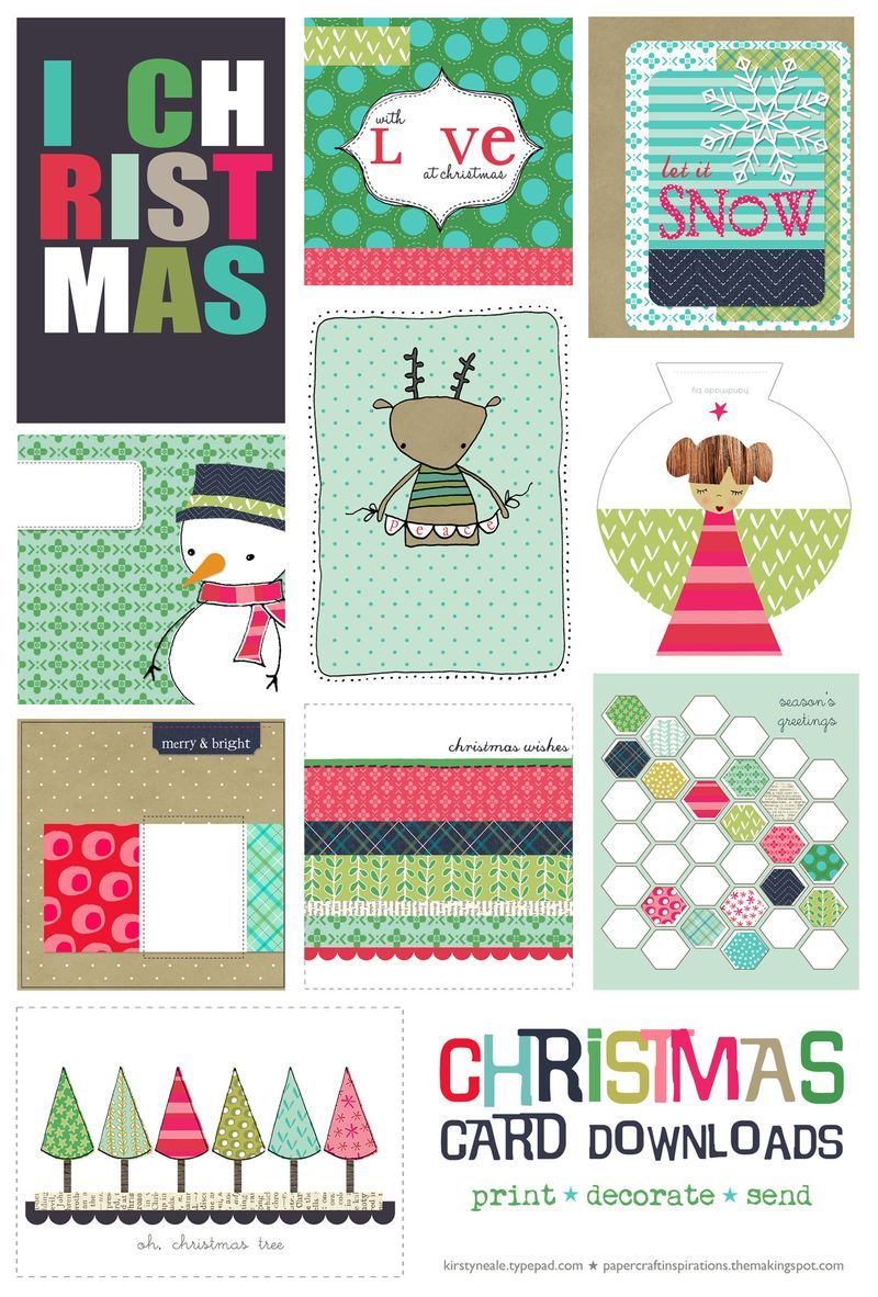 Free Christmas Card Printable Set | Free christmas card, Project ...