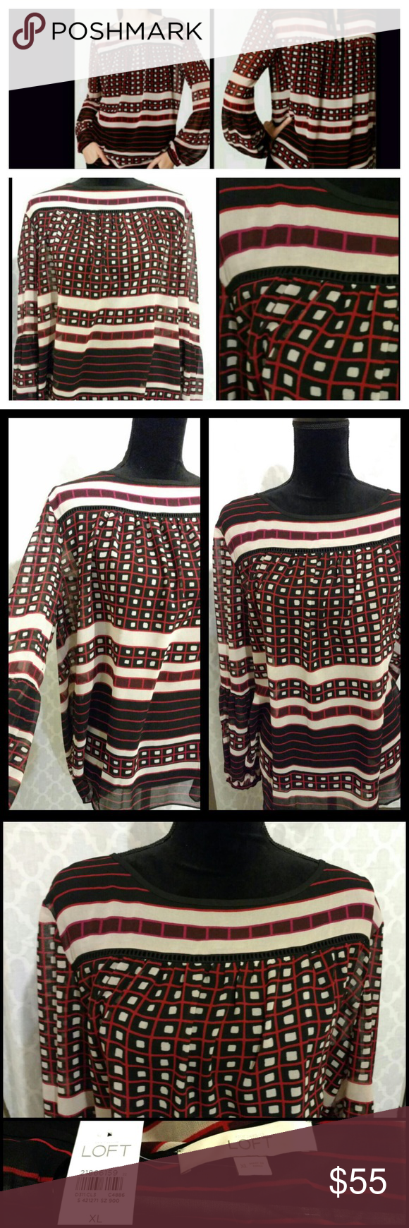 Loft Blouse - Geometric Print New with tags. Loft brand blouse. Red, black, cream (off white) color mix with a geometric print. Stylish and fun! Light and flowy material. Brand new, excellent condition. Discount available with bundle purchase or please make an offer. LOFT Tops Blouses