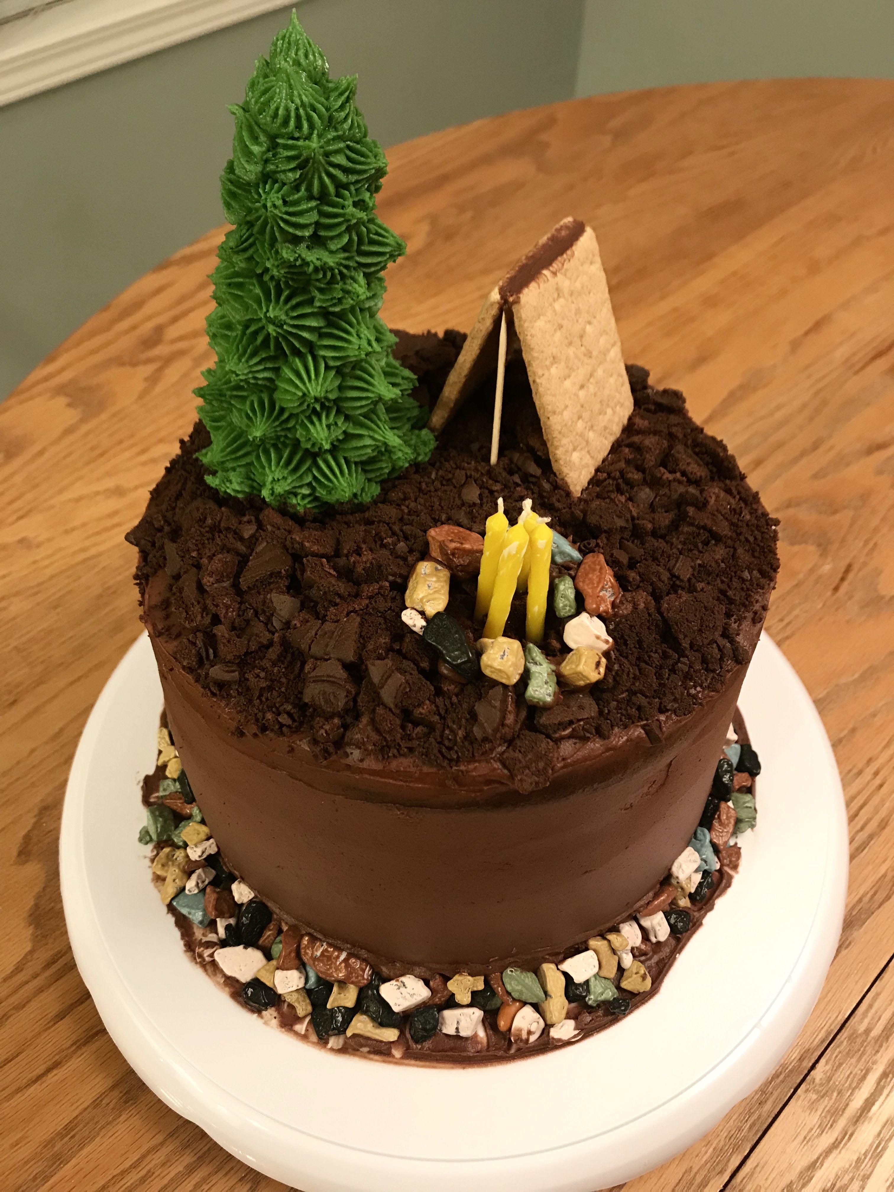 Birthday Cake For Men Camping Cake Outdoor Cake Chocolate Cake