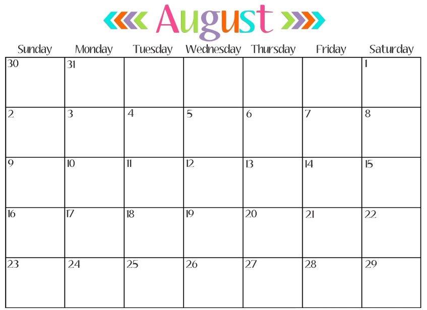 Blank August 2018 Calendar Word Printable August Calendar 2018