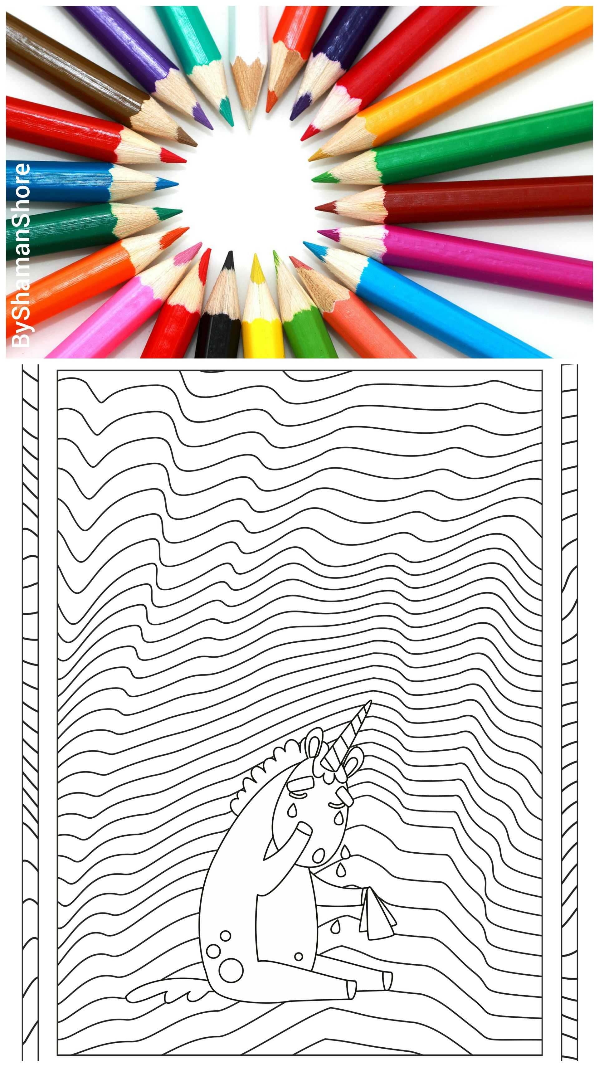 Unicorn Coloring Pages For Grown Ups Printable Adult On Etsy