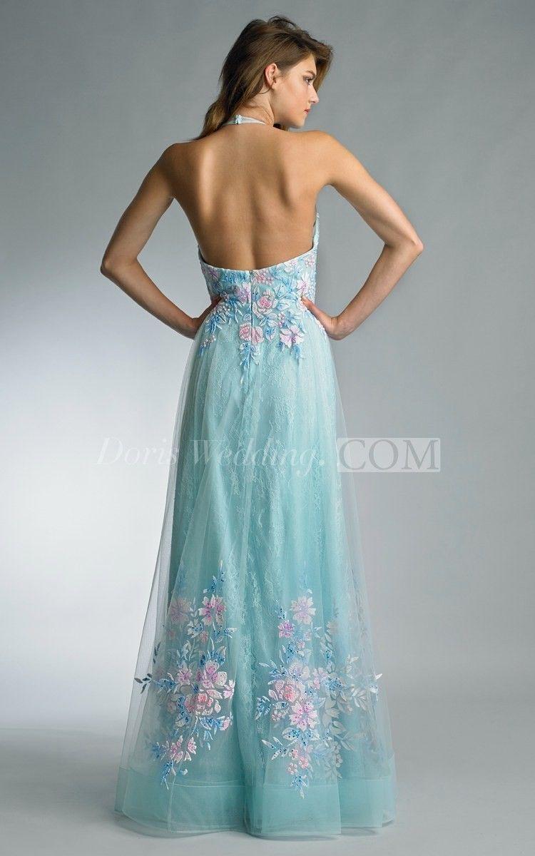 a-line Floor-length Halter Sleeveless Tulle Backless Dress   A line ...