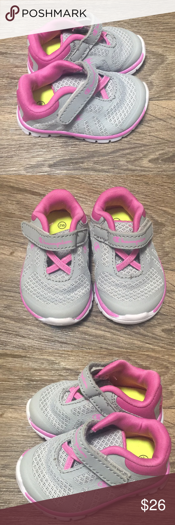 2ff1804509bbeb Final Drop  14 Champion Infant Shoes Size  2W Adorable Infant Shoes Colors   Pink and Grey Perfect for your little one Excellent Condition Champion Shoes  ...
