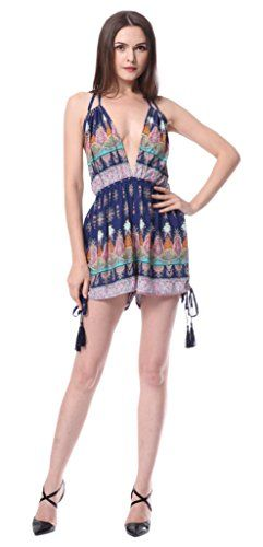 0938e5146010 Moxeay® Sexy Bohemian Printed Deep V-Neck Backless Romper(US Shipping)