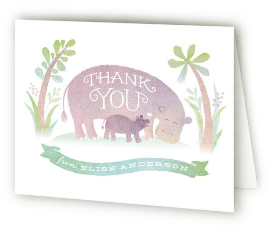 Baby Hippo Baby Shower Thank You Cards #babyhippo