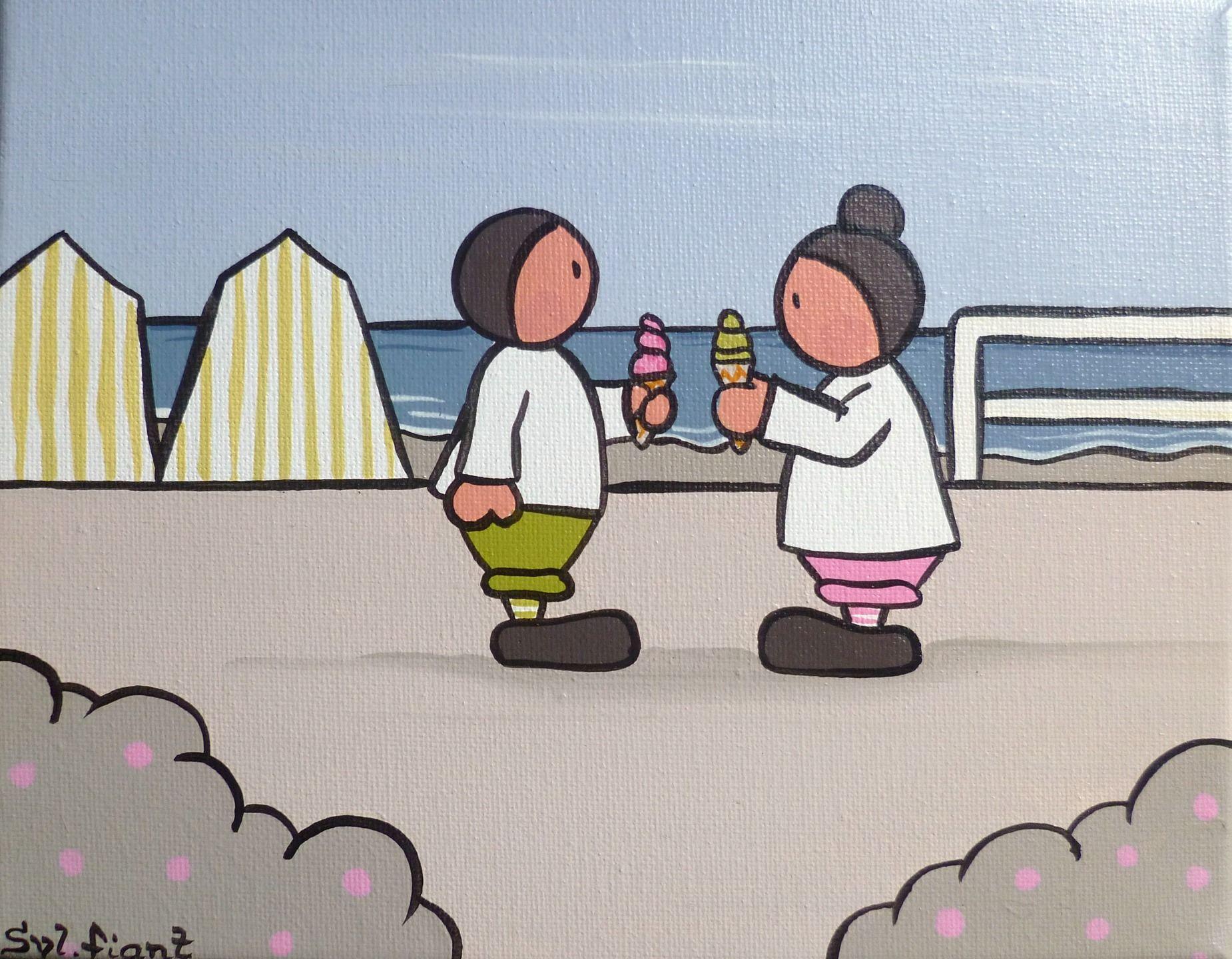Tableau bord de mer sc ne de plage vert rose et taupe - Dessin bord de mer ...