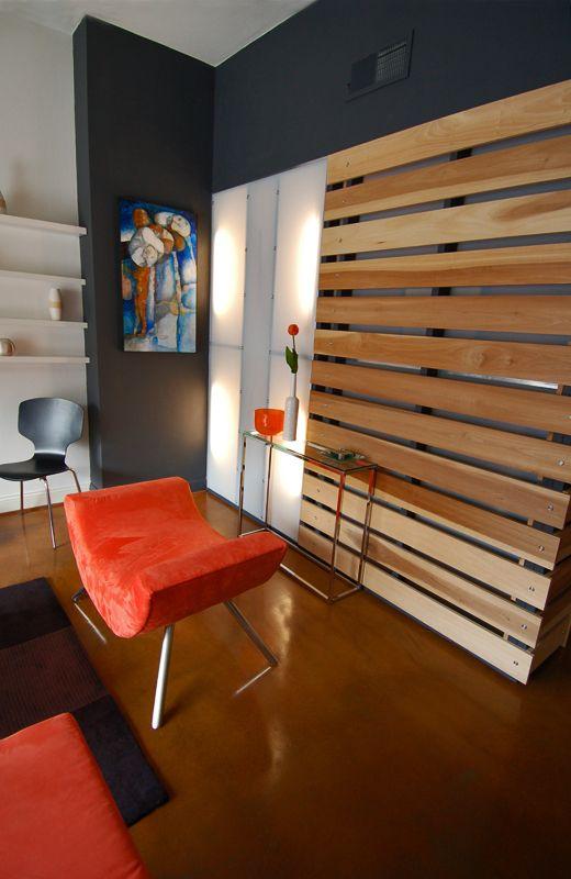Poplar Slat Wall/Room Divider and Light Wall inspiration ...