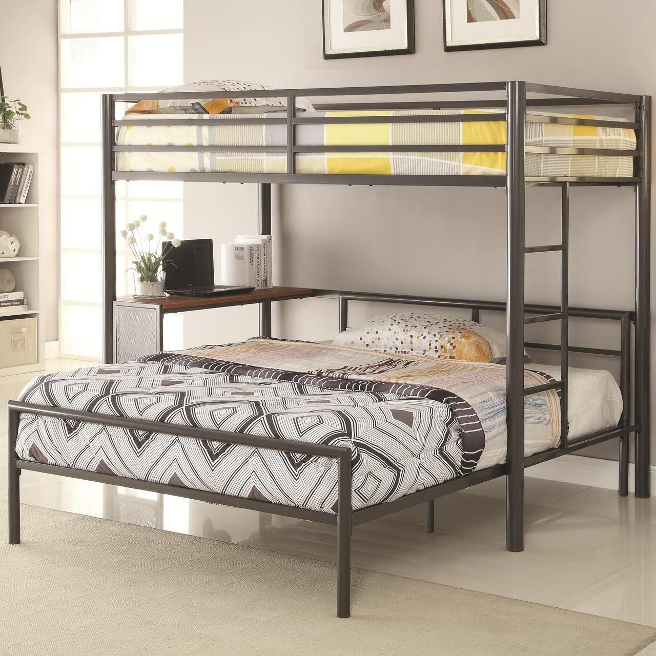 Best T Work Station Bunk Bed With Full Metal Bed Set Home 640 x 480