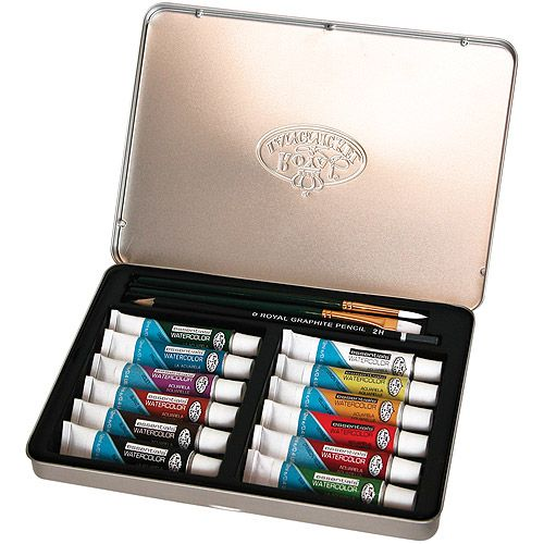 Wooden Box Art Set Watercolor Painting 25pc Assorted