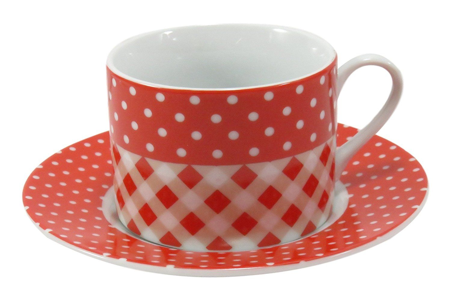 Amazon.com | Coffee Tea Cup Mug with Saucer Porcelain Red White ...