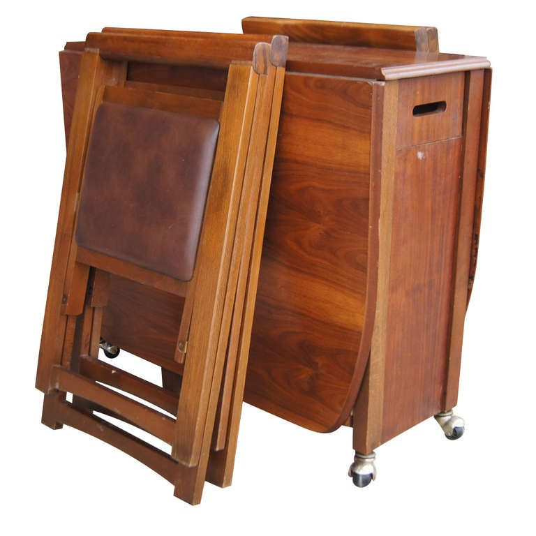 Wooden Folding Table And Chairs Set Racing Simulator Chair Plans Tables With Vintage 68 Wood Dining Four Image 4 Inspiration Stuff In 2019 Pinterest
