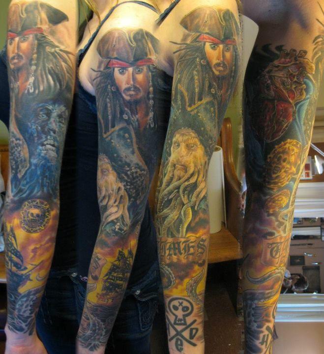 Pirates Of The Caribbean Sleeve Wow Disney Tattoos Tattoos