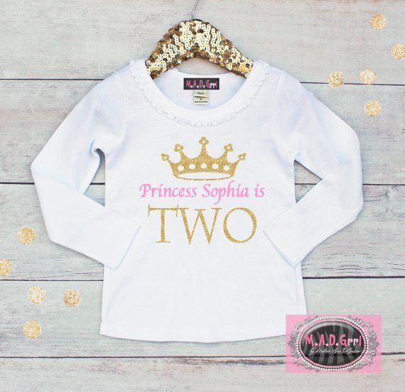 Girls Second Birthday Shirt 2nd Two Personalized Princess