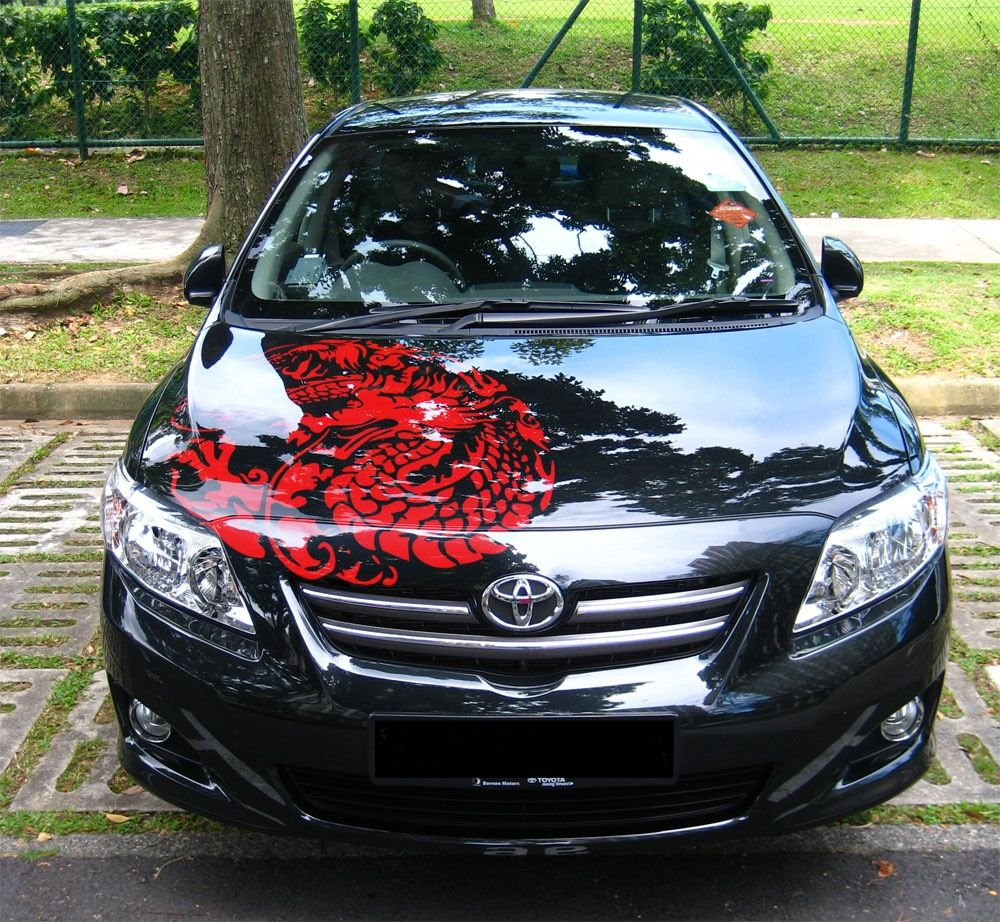 A Toyota Camry With A Sweet Dragon Decal Custom Car Decals Cute Car Decals Funny Car Decals [ 922 x 1000 Pixel ]