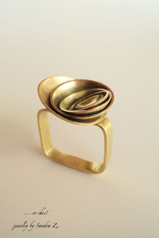 Photo of … so chic!: Simple & square brass rose irregular square ring quirky